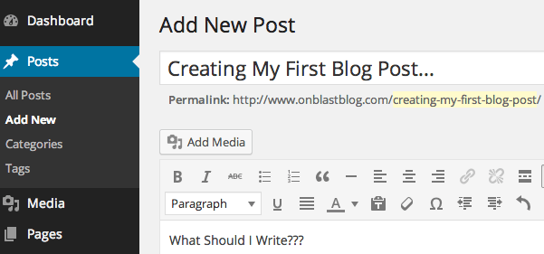 Creating My First Blog Post