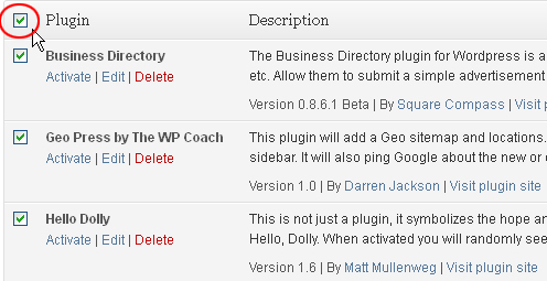 Inactive WordPress Plugins