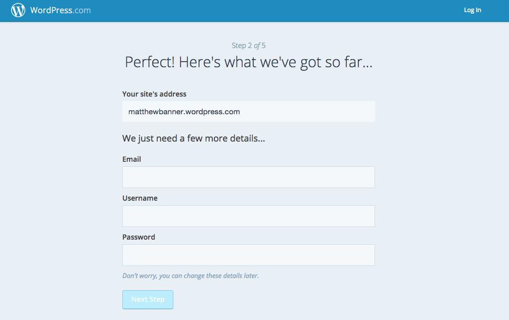 Wordpress.com Signup 2
