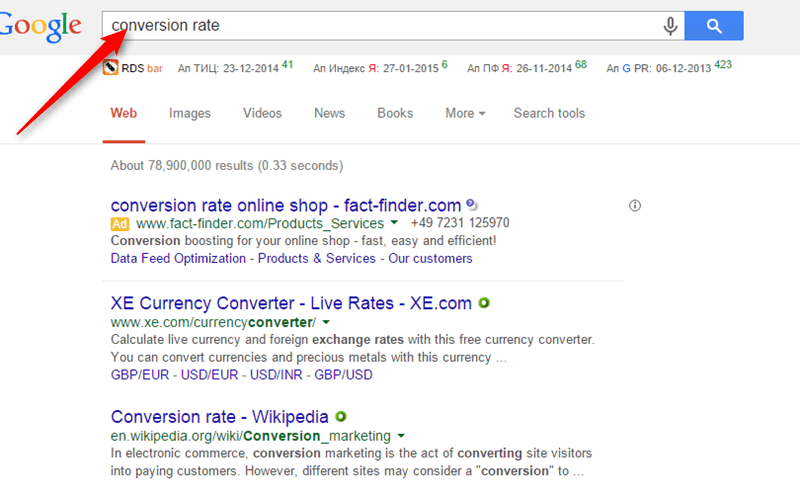 conversion rate via Google