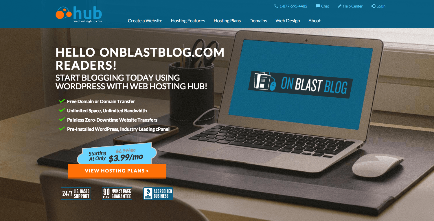 web hosting hub homepage