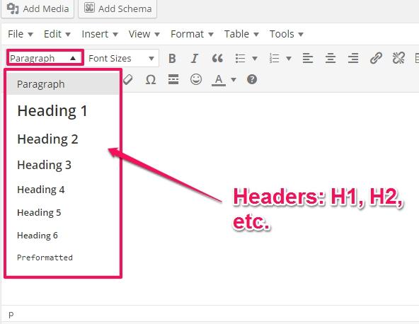 headers in wordpress