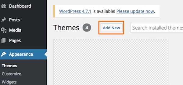 how to add a new WordPress theme