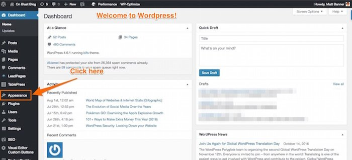 wordpress dashboard introduction
