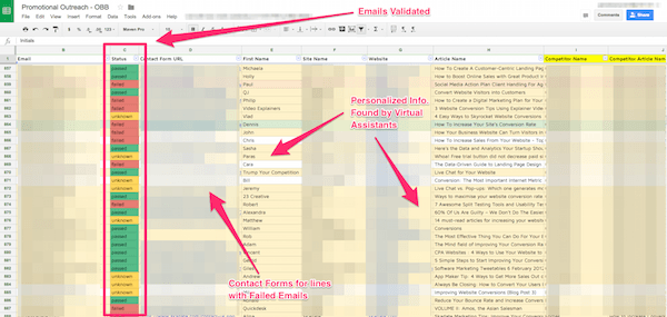 Outreach spreadsheet snapshot