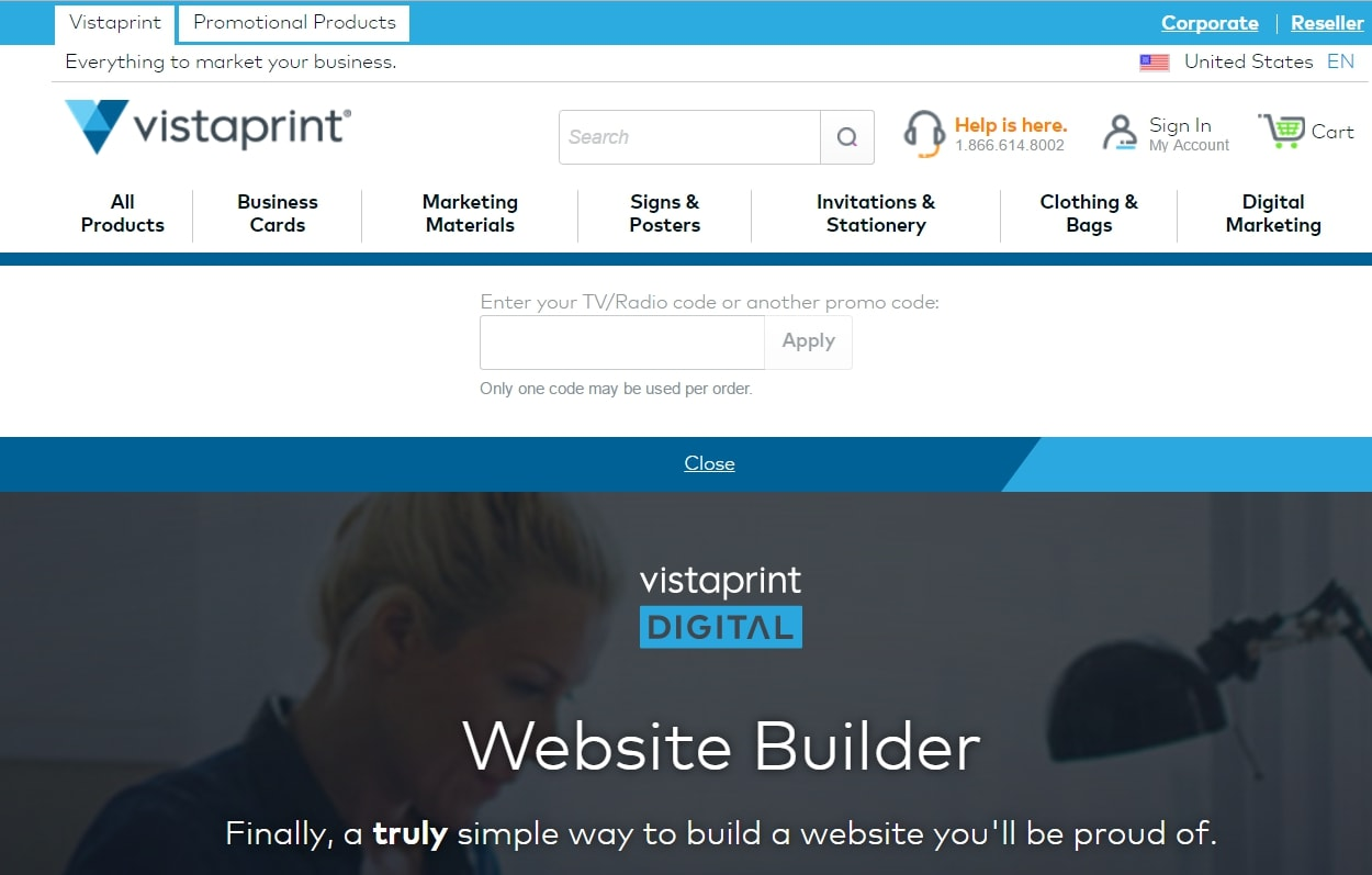 vistaprint-website-builder