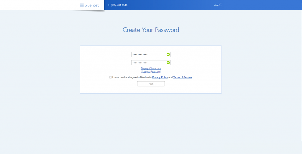 create your password for your hosting