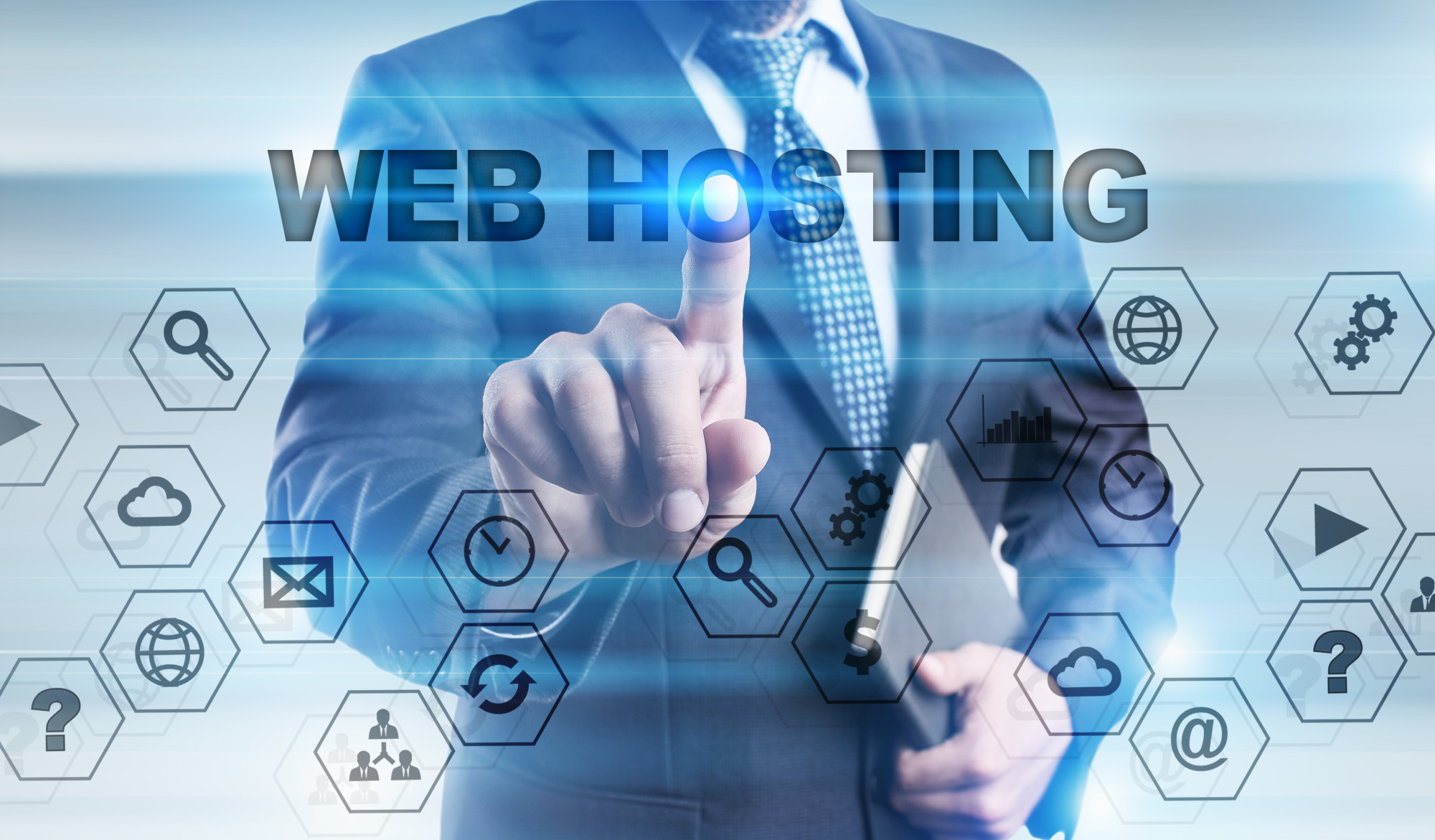 web hosting text and icons