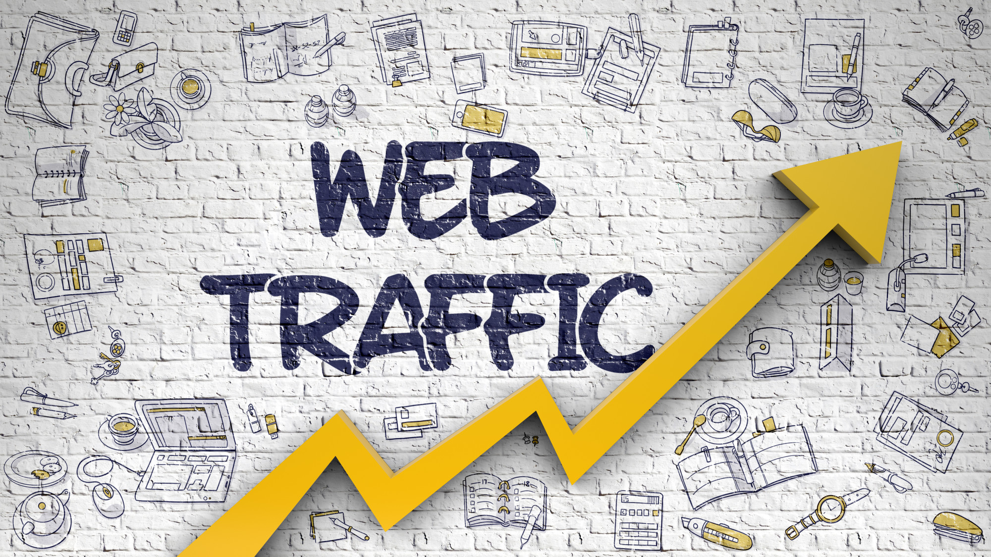 web traffic text with arrow going up