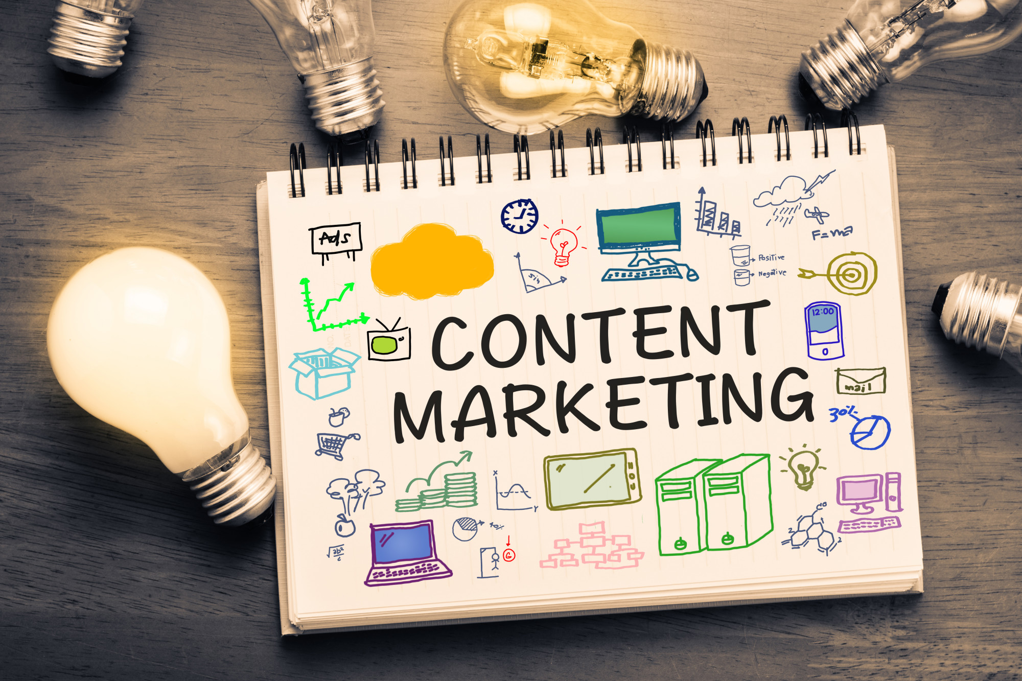 content marketing text and icons