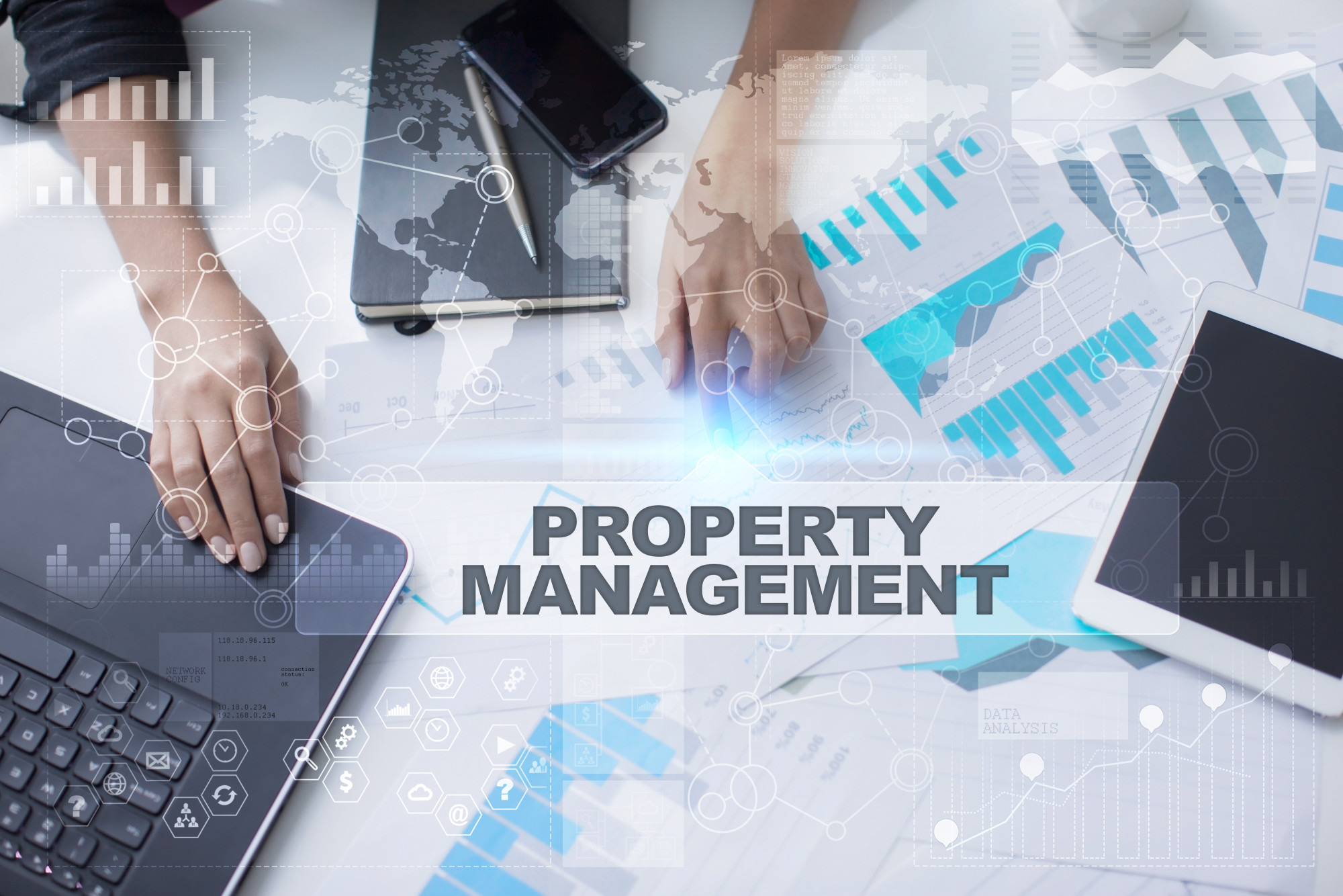property management text over office background