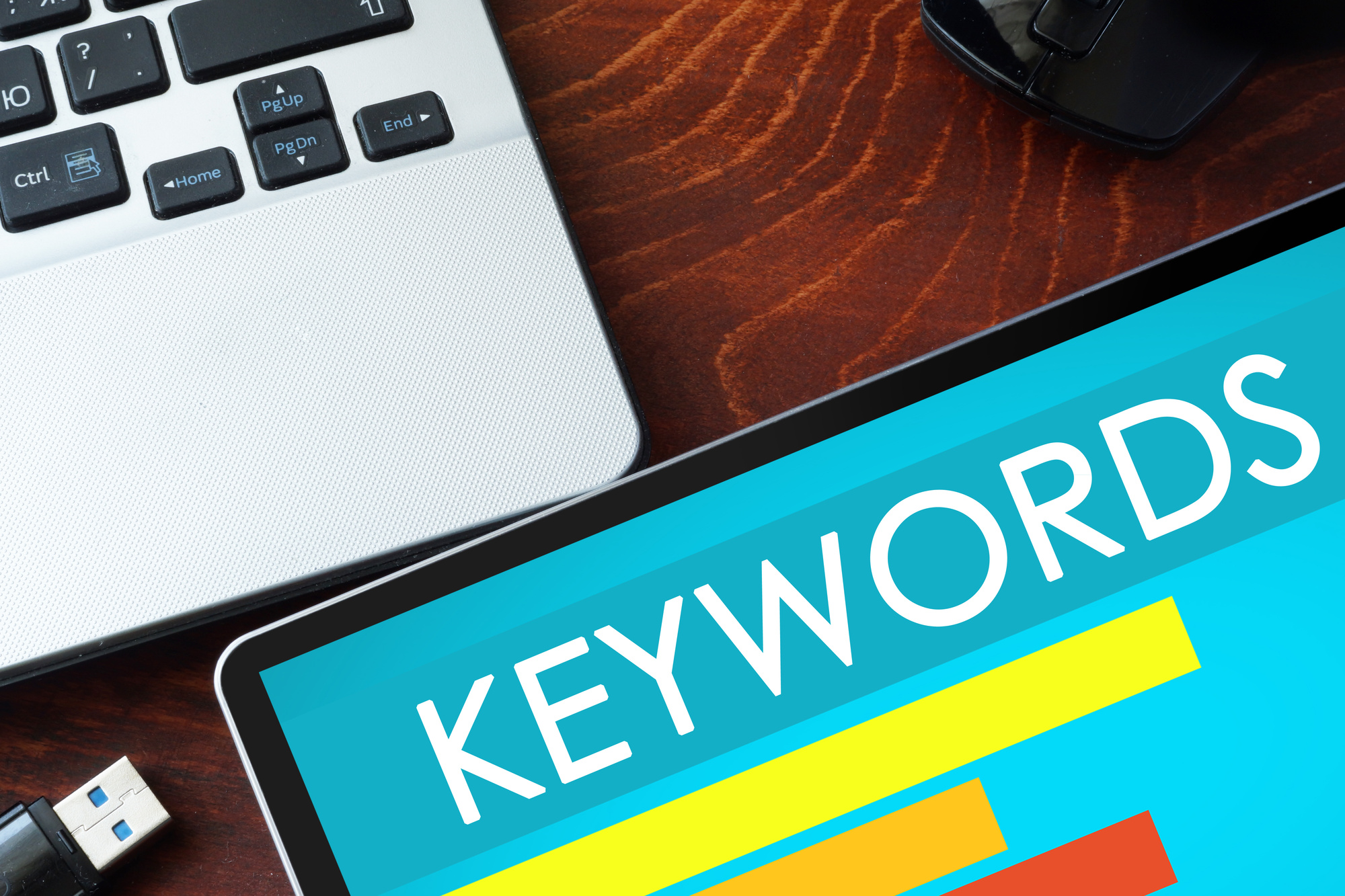 keywords on tablet screen