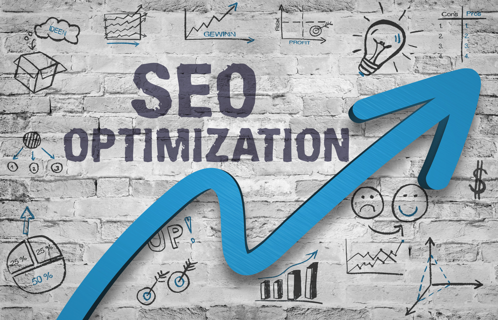 seo optimization with arrow