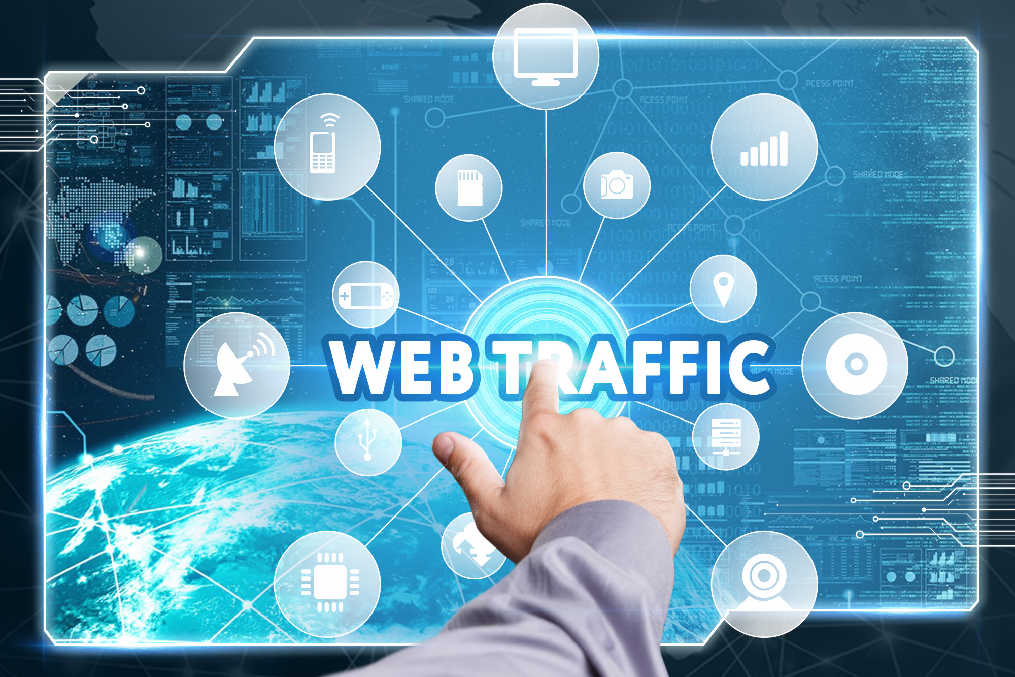 web traffic text and icons with finger pointing